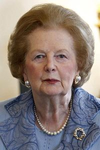 The late Margaret Thatcher who must have been on Nicky Phillips' mind whilst she was painting