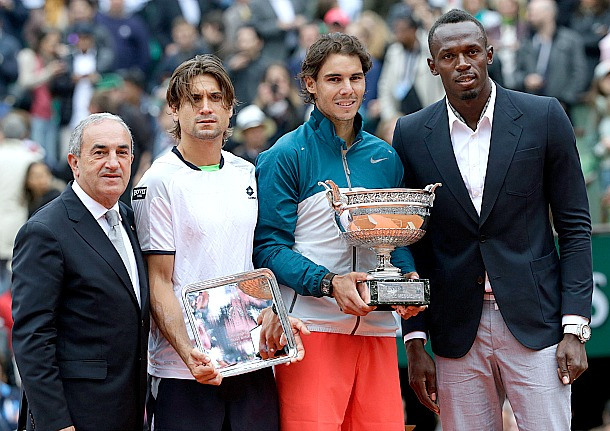 Usain Bolt (right) with Rafa Nadal and David Ferrer Photo Credit:  www.tennis.si.com