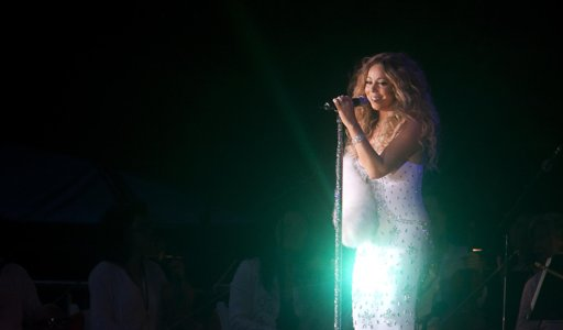 Mariah Carey at the benefit concert for Hurricane Sandy victims