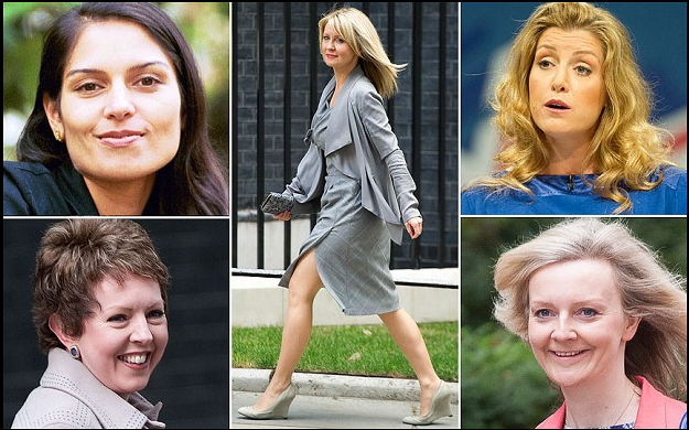 Top Left, Priti Patel, Bottom left, Baroness Stowell, Centre, Esther McVey, Top R, Penny Mordaunt, Bottom R, Liz Truss