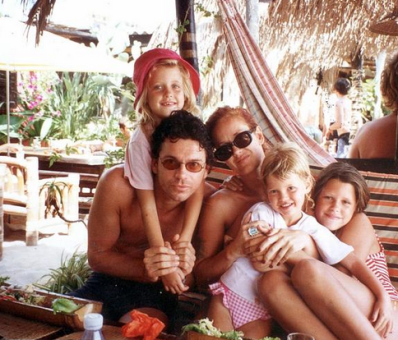 After Bob, Paula with Michael Hutchence and l to r Peaches, Pixie and Fifi